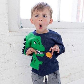 Pouco maven 2018 outono meninos roupas de marca crianças Camisolas de algodão menino com raiva dinossauro fleece C0114