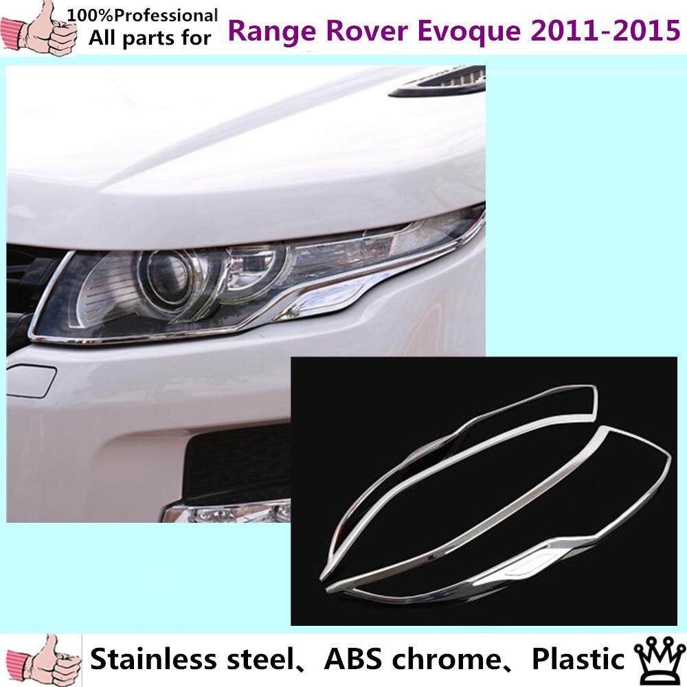 Car body front head Light lamp hood Molding frame stick ABS Chrome cover trim part panel 2pcs For Range Rover Evoque 2011-2015
