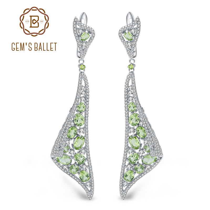 GEM S BALLET 8 10Ct Natural Peridot Gemstone Drop Earrings 925 Sterling Silver Vintage Gothic Earrings