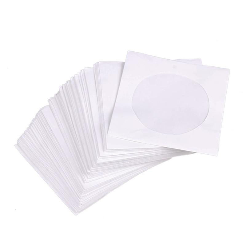 Mini 95Pcs Protective White Paper CD DVD Disc Storage Bag Envelopes Flap