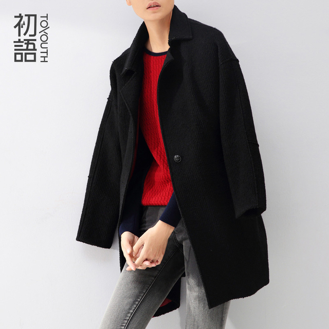 Toyouth зима новые ожидаемые средний стиль шерстяное пальто женщин с отложным воротником широкий твердые кнопка смеси дамы