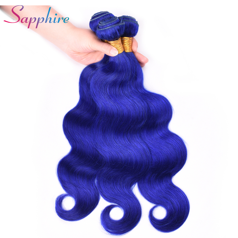 SAPPHIRE Human Remy Peruvian Hair Weave Bundles Hair 4 Bundles Pre-Color Blue Color 100% Human Hair Weaving Hair