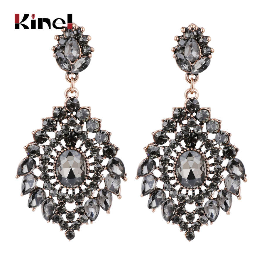 Kinel Luxury Gray Crystal Drop Earrings For Women Vintage Wedding Jewelry Antique Gold Color Ethnic Jewelry