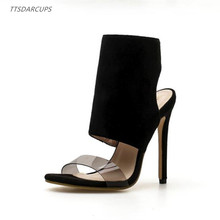 TTSDARCUPS European and American new suede film, open toe, high heel shoes. Super cool boots Sexy night shop  35-40 yards
