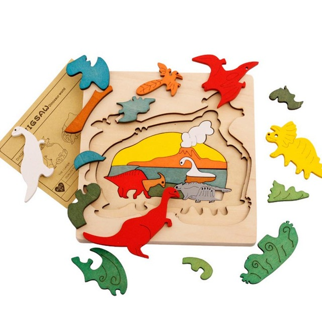 9 Styles Dinosaur Transport Animal 3D Puzzle Wooden Jigsaw Children Educational Learning  Toys Birthday Gifts TF0132