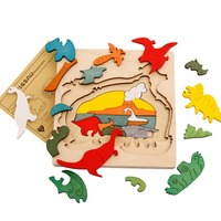 9 Styles Dinosaur Transport Animal 3D Puzzle Wooden Jigsaw Children Educational Learning Toys Birthday Gifts