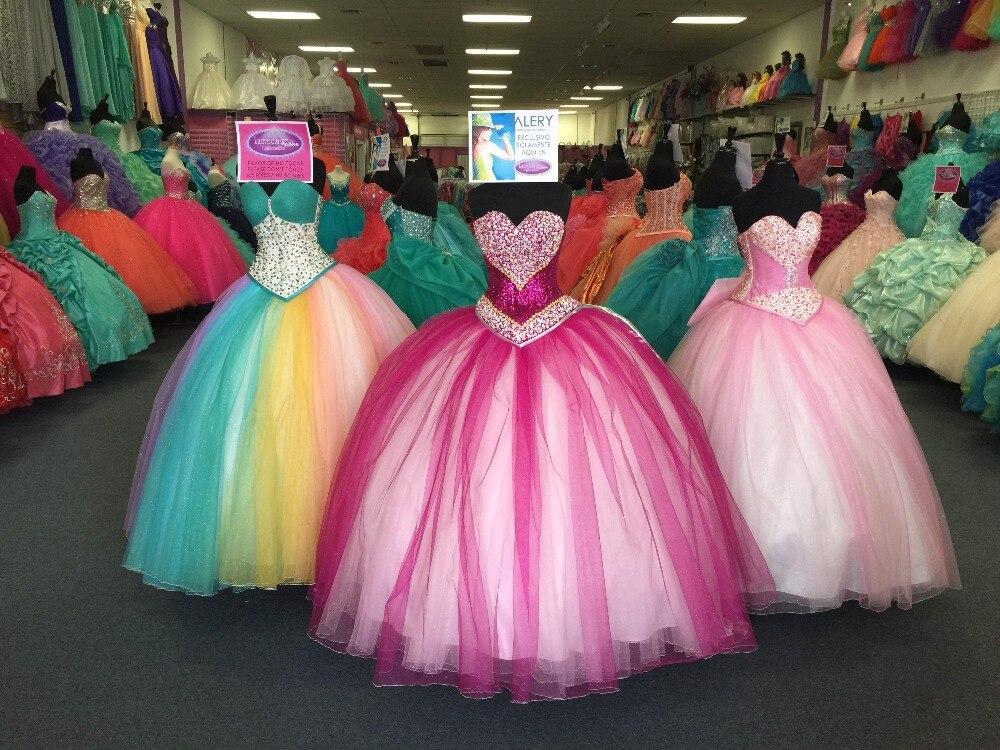 7ecdad6f4 Bola de mascarada Vestidos de Quinceañera Vestidos 2017 Hot Pink Crystal  Lentejuelas Partido vestido de Fiesta Vestidos de 15 anos durante 15 años  en ...