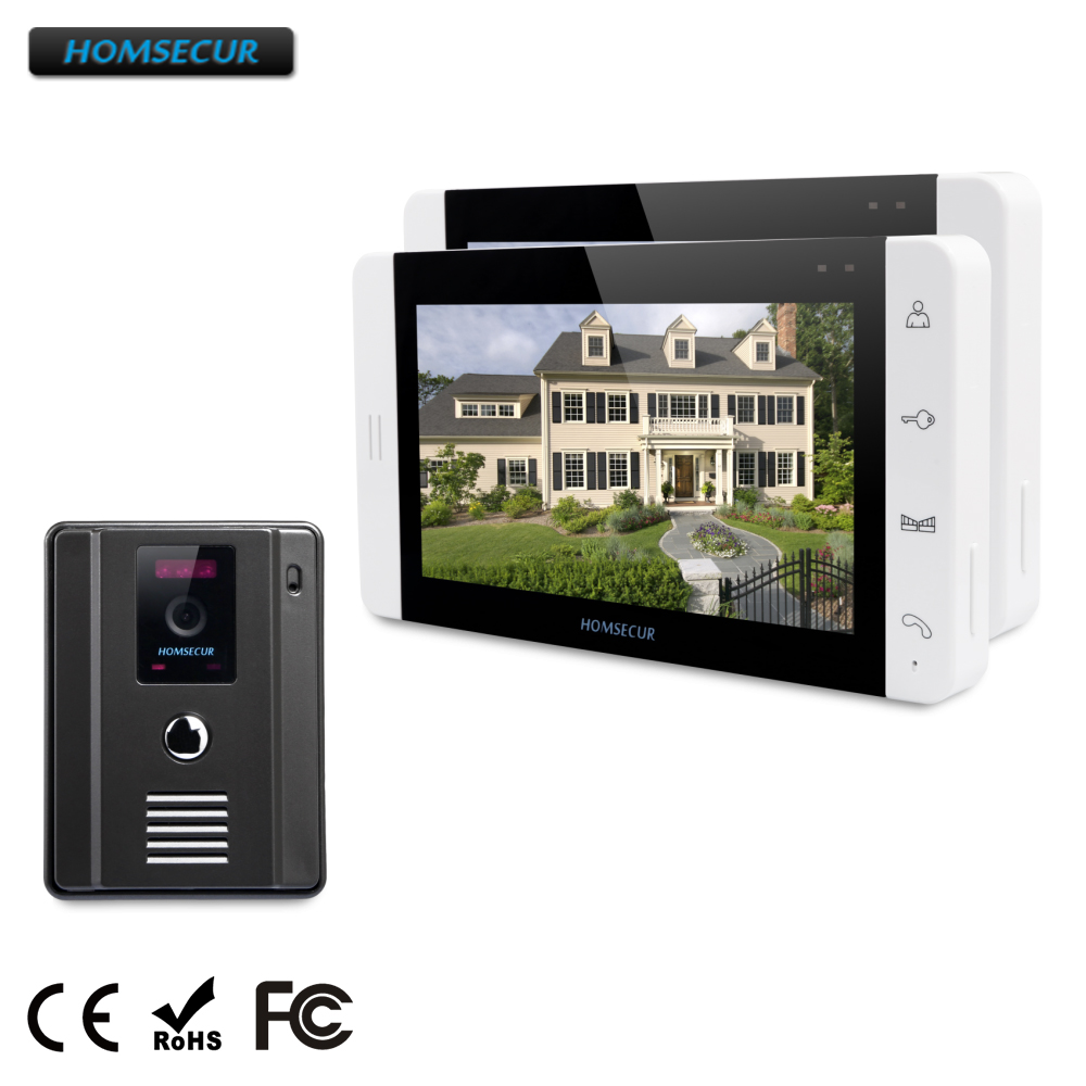 HOMSECUR TC011-B+TM703-W 7 Video&Audio Home Intercom Electric Lock Supported for Apartment 1C2M