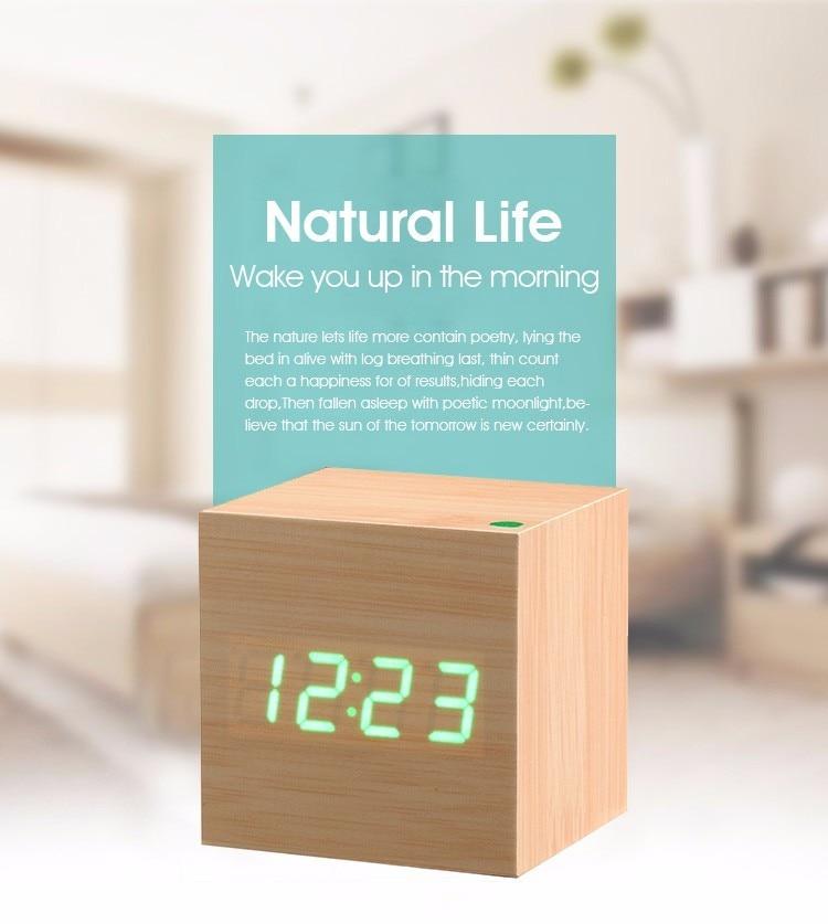 Alarm Clocks The Cheapest Price Ouyun Wooden Alarm Clock Voice Activated Led Digital Electronic Desktop Table Clock Funny Calendar Clock Face Office Electronic