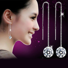 High Quality Korean Version Silver Color Luxury Bling Crystal Long Stud Earrings Ear Wire Jewelry Ball Shape Design wholesale