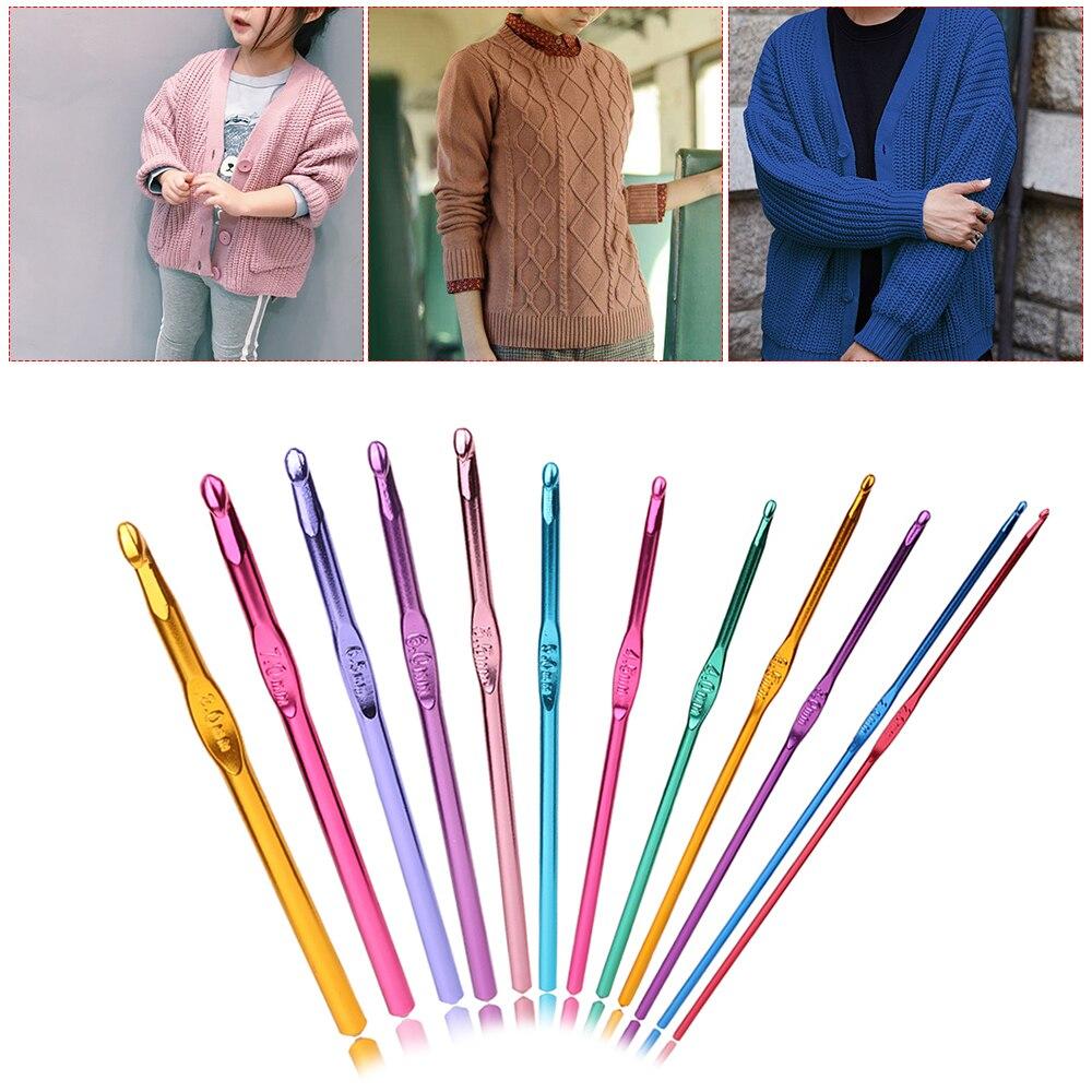 Home & Garden 12pcs/set Multicolour Aluminum Crochet Hook Knitting Needles Handle Knit Set Weave Sweater Knitting Tools Craft Yarn Stitch Loom Attractive Appearance