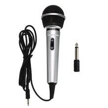 Универсальный 3,5 мм проводной микрофон переносной передатчик для общего пользования KTV Караоке запись черный серебристый