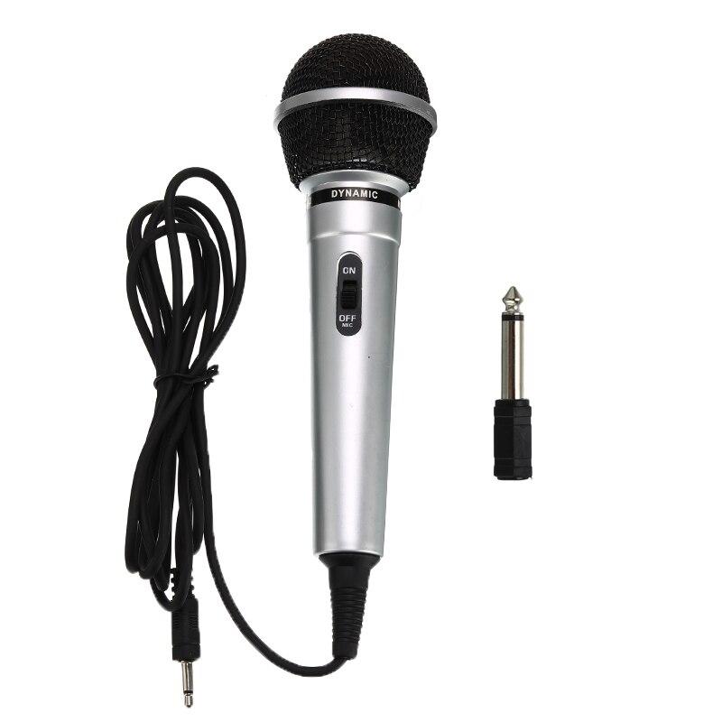 Универсальный 3,5 мм проводной микрофон переносной общественный передатчик KTV Караоке запись черный серебристый