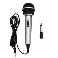 Universal 3.5mm Wired Microphone Protable Public Transmitter KTV Karaoke Recording Black Silver