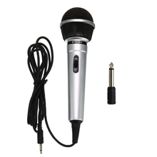 Uniwersalny 3.5mm przewodowy mikrofon Protable publiczny nadajnik KTV Karaoke nagrywanie czarny srebrny