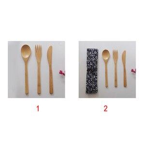 Image 2 - Garfo faca colher cultery jam utensílios de mesa conjunto acampamento ao ar livre bambu natural janpanese estilo ocidental louça