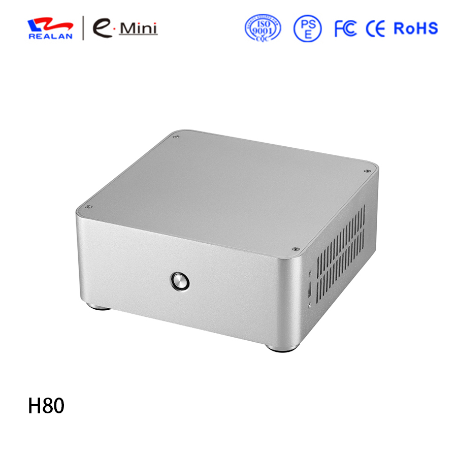 Realan H80 gaming Mini ITX computer case Aluminum PC case Chassis for  without power supply adapter