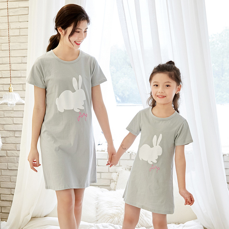 Family Matching Pajamas Suit For Mother Kid Mother Daughter Dresses Women Sleepwear Girl Nightdress Mommy and Me Nightie Clothes