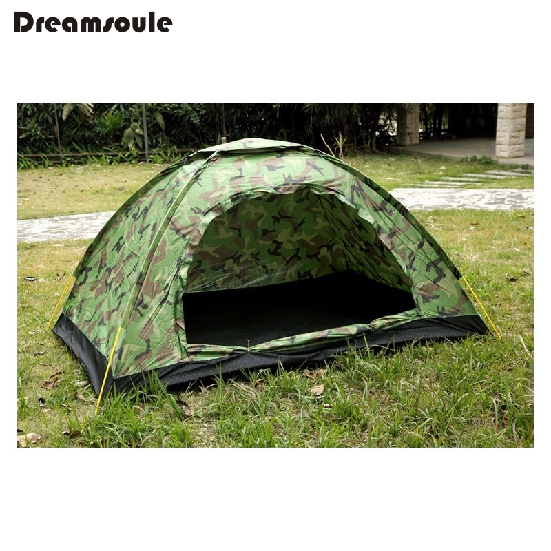 DREAMSOULE Camouflage Ultralight Portable Camping Tent for 3-4 Persons with Carry Bag BL037 for camping and outdoor activities outdoor double layer 10 14 persons camping holiday arbor tent sun canopy canopy tent