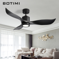 BOTIMI Inverter Motor 52 Inch LED Ceiling Fan Modern Fan Lights Remote Cooling Ceiling Fans Home Lighting Fan Lamps Fixtures