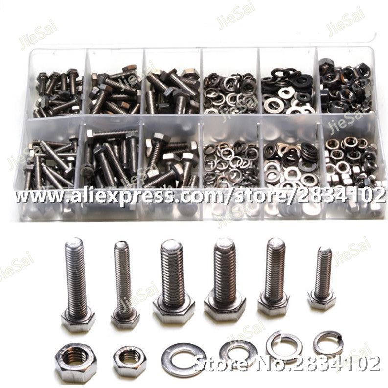 475pcs Hexagon Socket Head Screws Kits Carbon Steel Hexagon Bolts Nuts Flat Spring Washers Gaskets Hardware Accessories