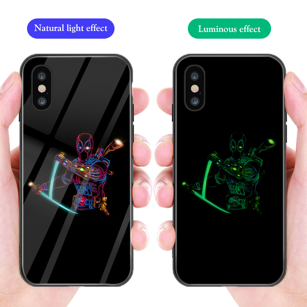 Luxury Phone Case for iphone 11 Pro Max XS Max XR X Marvel Deadpool Iron Man Luminous Glass Cover for iphone 7 6 8 6S Plus Funda in Fitted Cases from Cellphones Telecommunications