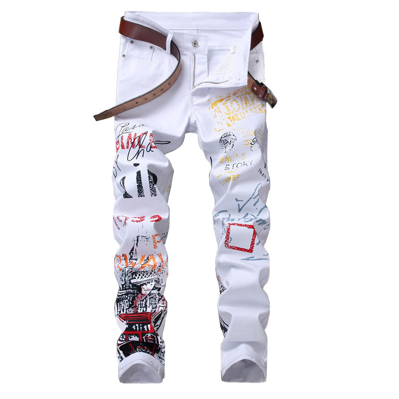 Mcikkny Fashion Men's Printed Jeans Pants Slim Fit Skinny Denim Trousers For Male Straight Size 29-38