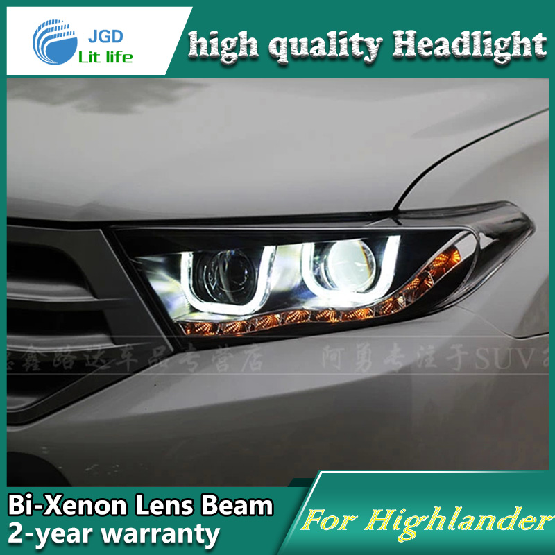 Car Styling Head Lamp case for Toyota Highlander 2012 2013 LED Headlights DRL Daytime Running Light Bi-Xenon HID Accessories stainless steel strips for toyota highlander 2011 2012 2013 car styling full window trim decoration oem 16 8