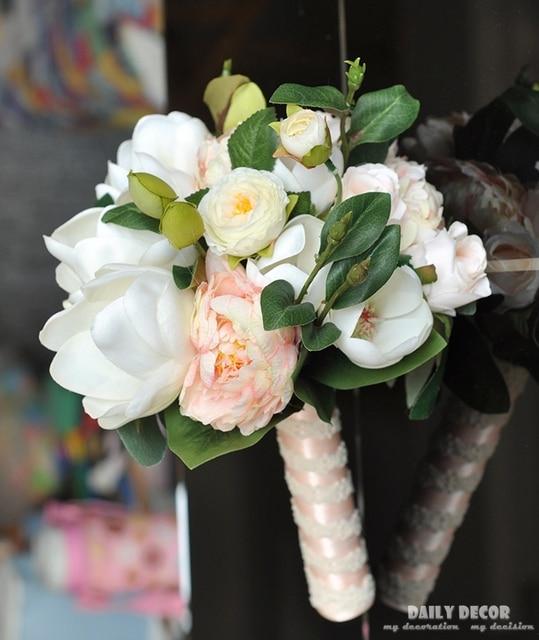 Artificial Magnolia flowers wedding bridal bouquet bride holding ...