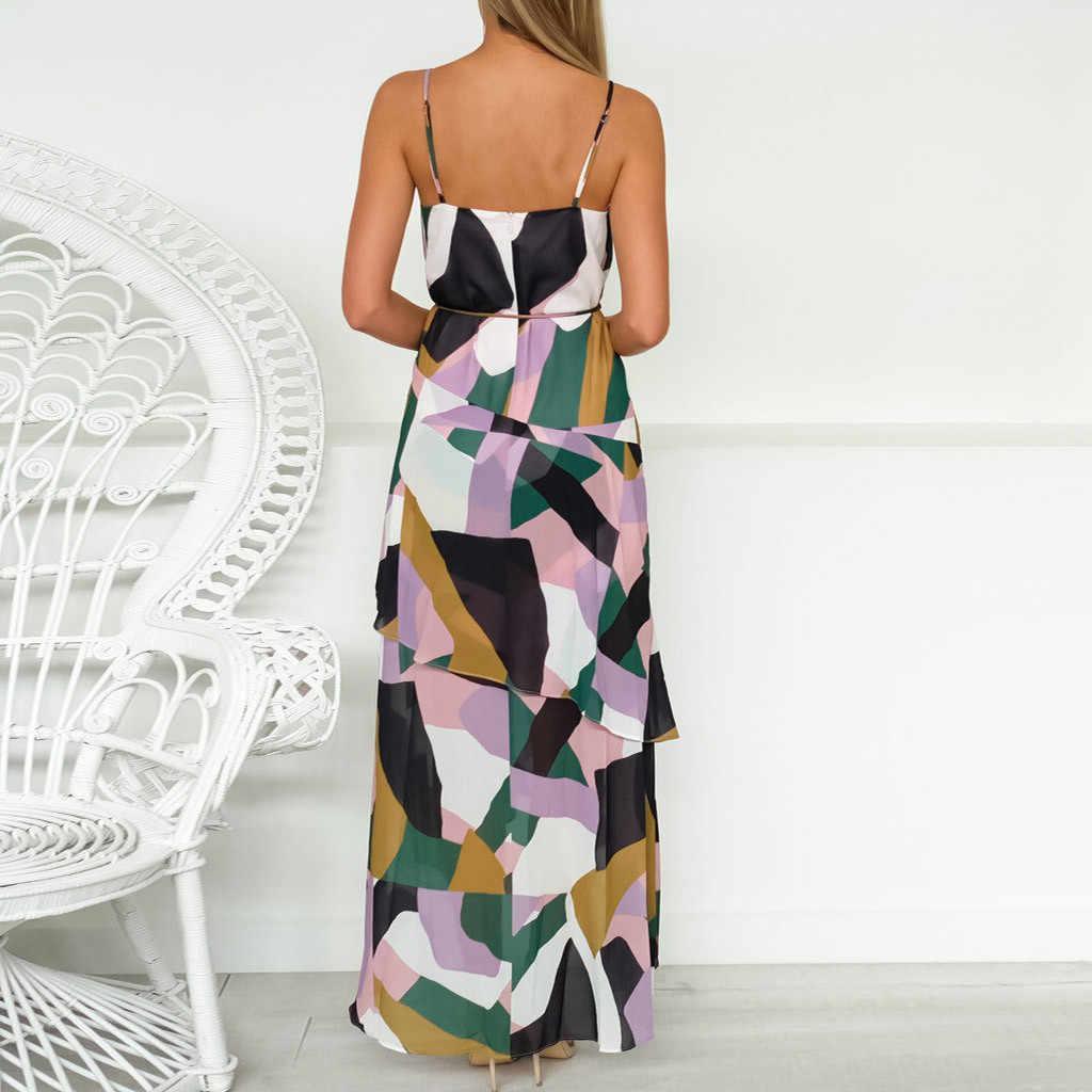 Летнее Длинное Платье, модное женское асимметричное платье, Дамский многослойный пояс-бандаж, принт, длинный сарафан, Цветочное платье с бретельками