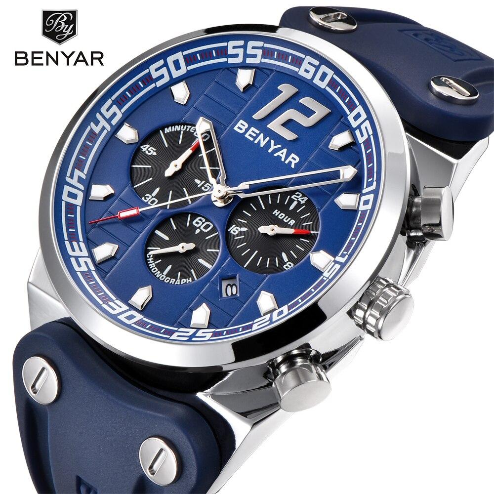 2018 Новый benyar модные спортивные мужские Часы лучший бренд класса люкс кварцевые Военная Униформа часы Relogio masculino/по- 5131