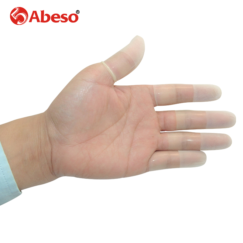 100/1000pcs/lot ABESO ultrathin frosting latex finger cots safety gloves antislip non-fingerprint for jewelry finger cotsA7217 anti static elastic finger cots stalls yellow size l 50 pcs