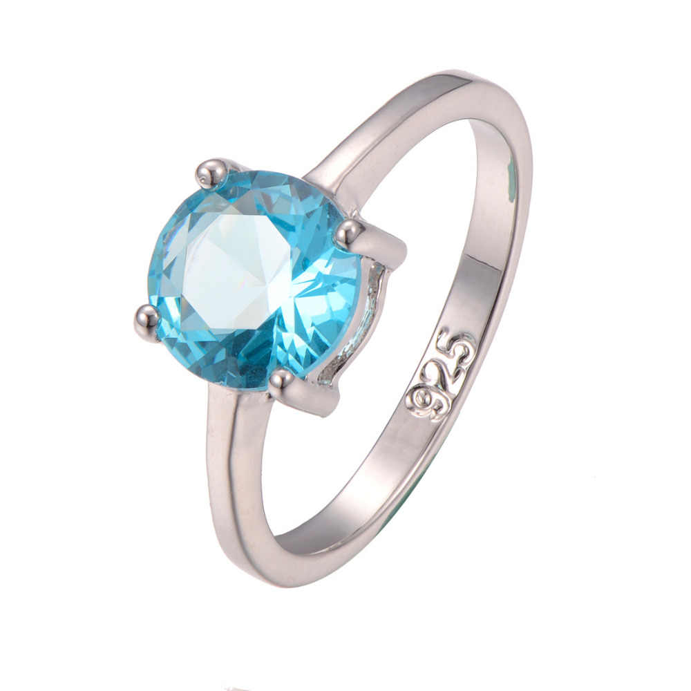 Cổ điển Phong Cách Phỏng Aquamarine 925 Sterling Silver Wedding Party Thiết Kế Thời Trang lãng mạn Nhẫn Kích 5 6 7 8 9 10 11 12 PR29
