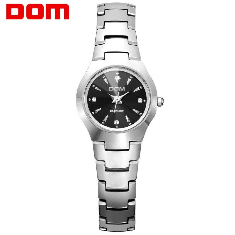 DOM brand luxury Women Watches waterproof Tungsten Steel bracelet Fashion Quartz silver Ladies Watch relogio feminino