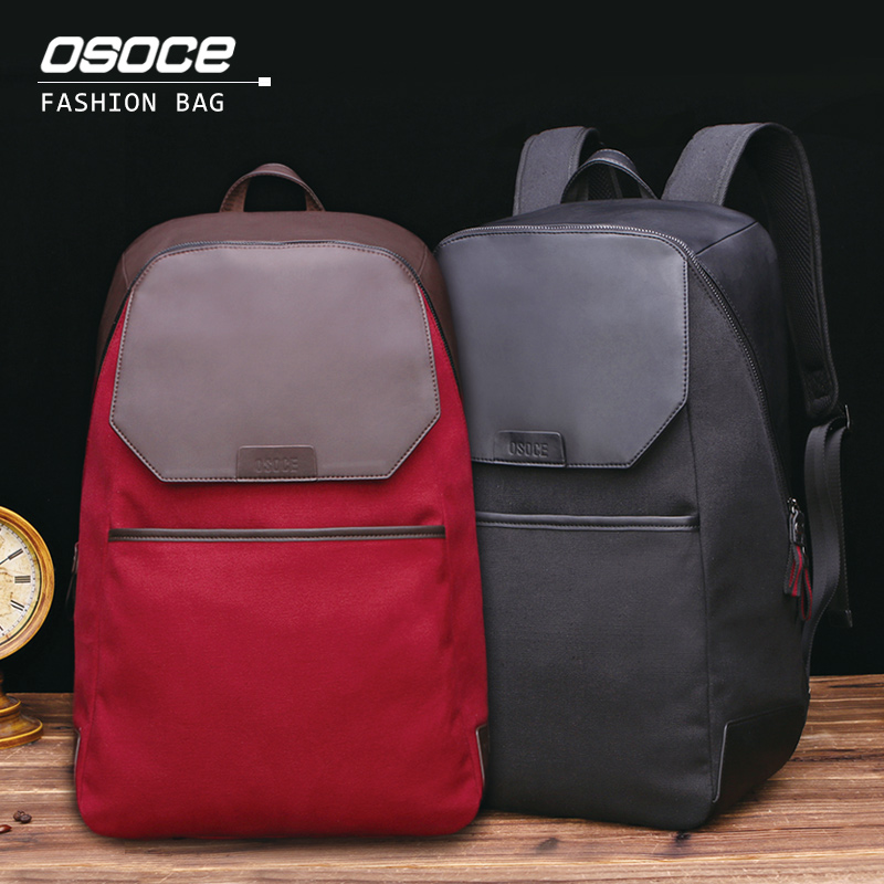 ФОТО OSOCE Multi-functional Business Casual Backpack Water-resistant Canvas PU Bags 15
