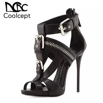 Coolcept Size 34-45 Ladies High Heel Sandasl Zipper Thin Heel Matel Buckle Women Shoes Sexy Punk Shoes Paty Club Footwear