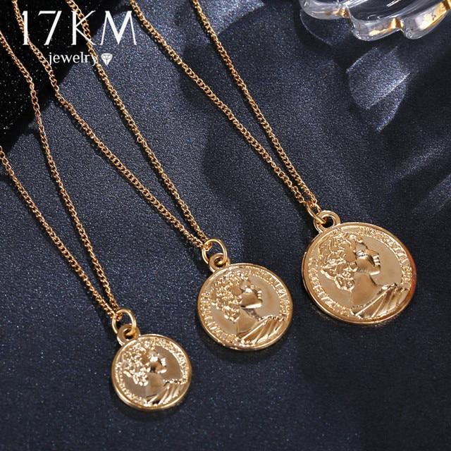 17KM Vintage Coin Pendant Necklaces For Women Fashion Figure Long Choker Necklac