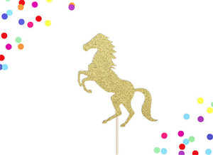 15cm Height Gold Glitter Horse Cake Toppers Cowgirl Cowboy Birthday Party Cake Decorations Supplies(China)