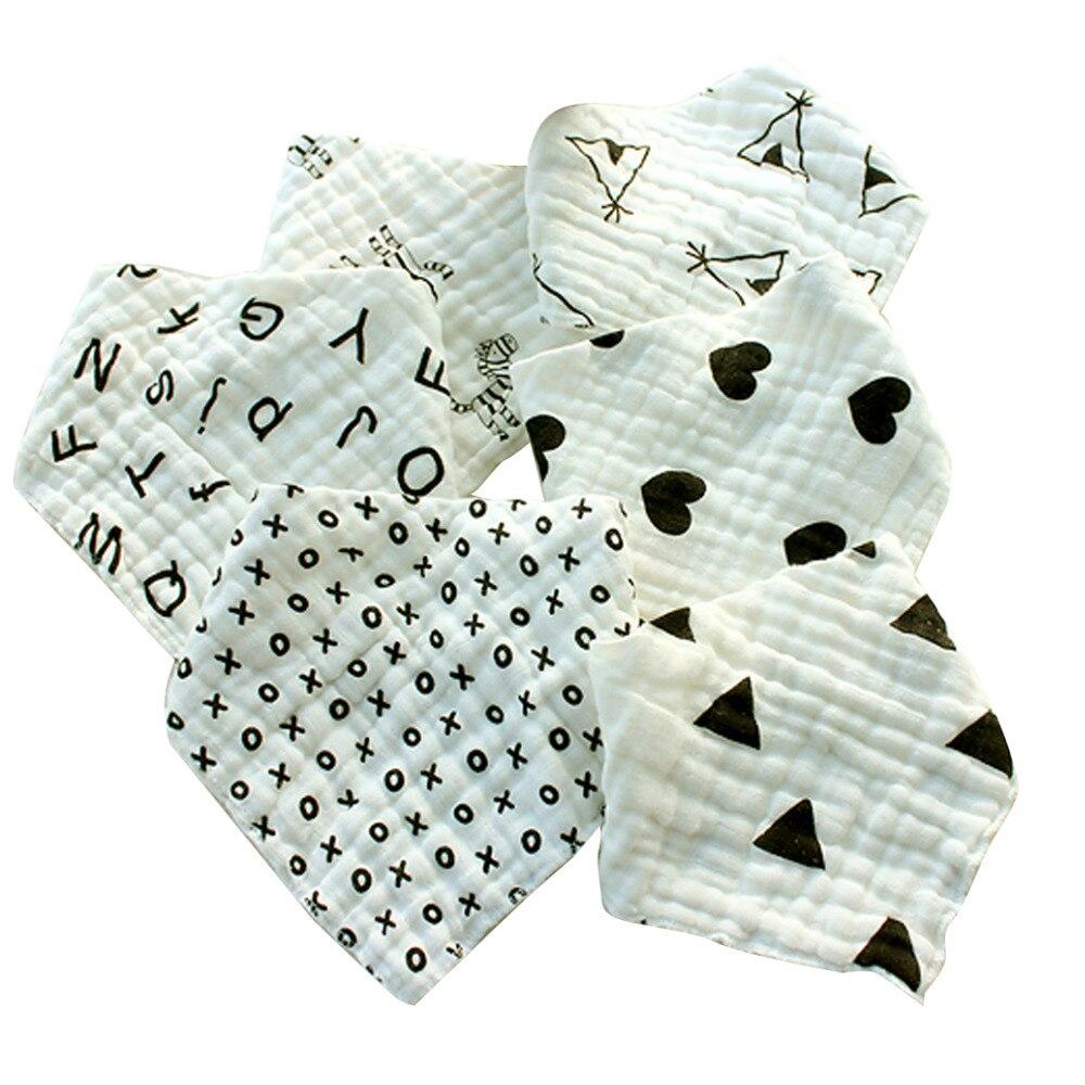 AINAAN Baby Cotto Burp Cloths With Bandana Bibs 6 Pack Set For Teething and Drooling Feeding Bibs For Babies foodie babies wear bibs