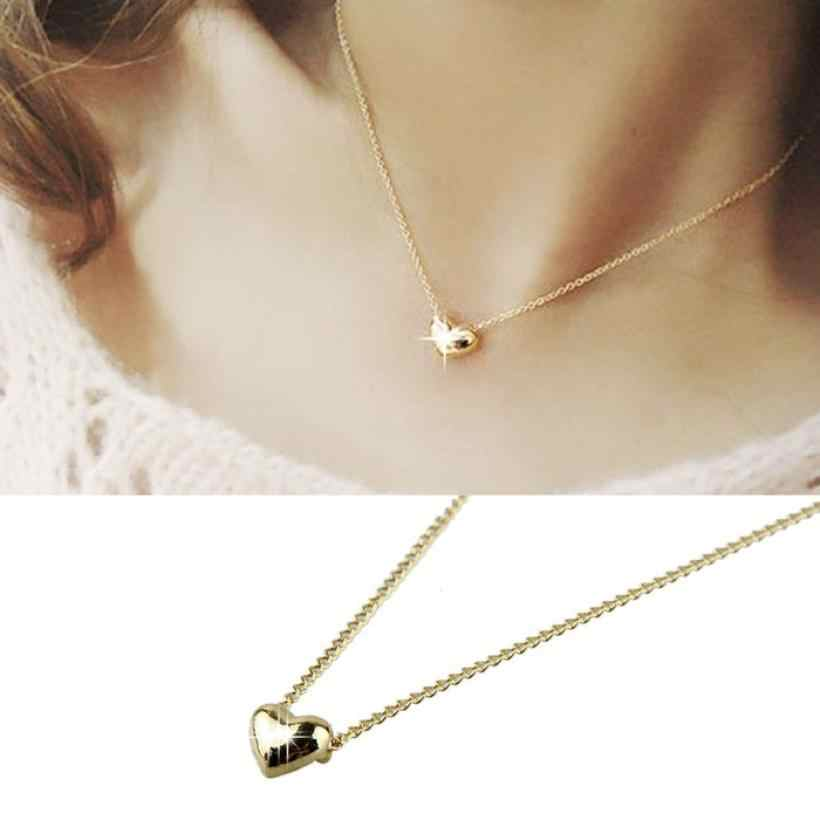 Fancinating Smooth Small Heart Necklaces Gold Pated Choker Pendant Necklace Jewelry Austrian Crystal Wholesale Torque Necklaces