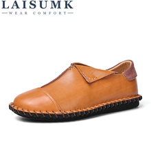 LAISUMK Men Leather Casual Shoes Slip on Male Split Leather Mocassins Shoes Luxury Brand Brown Black Man Flats Outdoor Loafers grimentin fashion uk designer men loafers genuine leather black brown luxury casual slip on male shoes men flats business 745