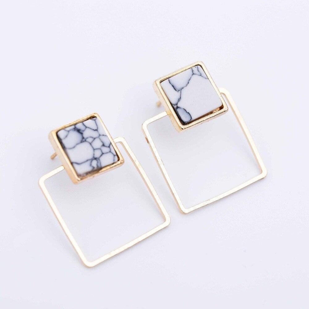 Geometric Faux Stone Stud Earring 10