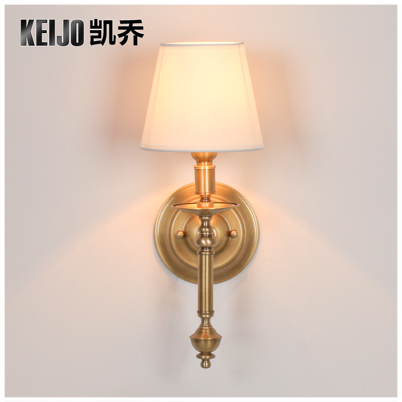 цена на Keijo, American country wall copper bedroom bedside lamp lens headlight European minimalist living single head lamp