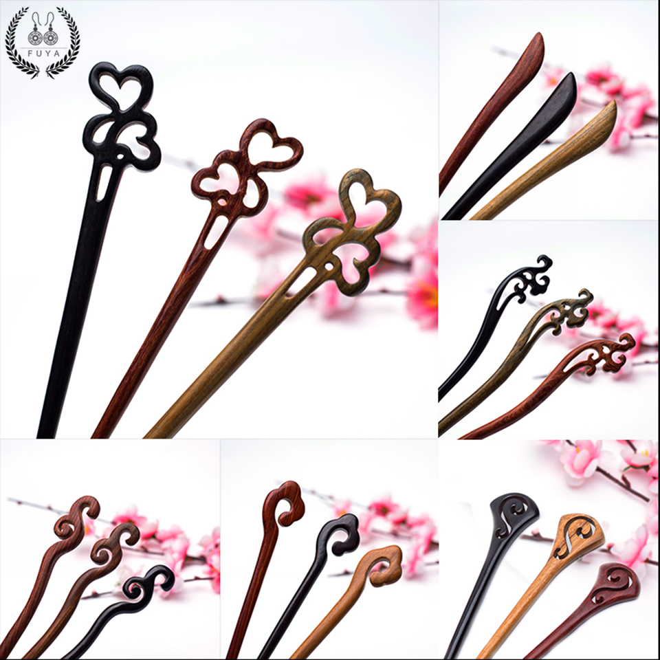 4x Wood Ball Head Wooden Hair Pin Hair Stick Retro Lady Women Hair Chopstick