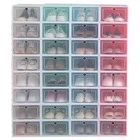 6Pcs/set Shoe Organizer Drawer Transparent Plastic Shoe Storage Box Rectangle PP Thickened Shoes Organizer Drawer Shoe Boxes