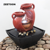 110V 240V Lucky LED Home Decor Mini Fountain Water Features Feng Shui Crystal Ball Teapot Water Cycle Tabletop wedding Ornament
