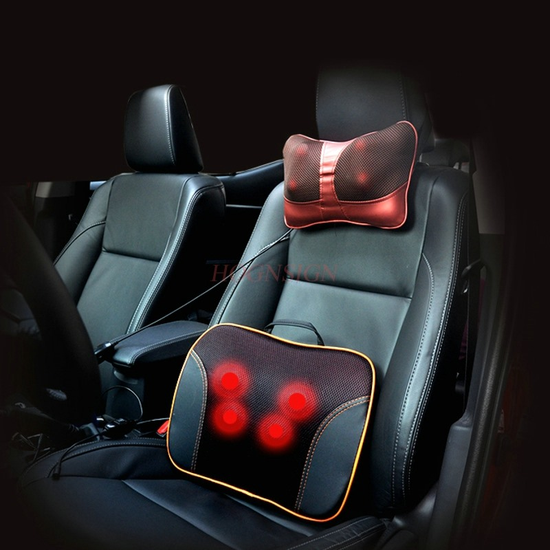 Car electric massage lumbar multi-function car home waist massager waist back electric body cushion automobile interior decorations car massage electric waist cushion magnetic vibrating massage lumbar protective hot sale