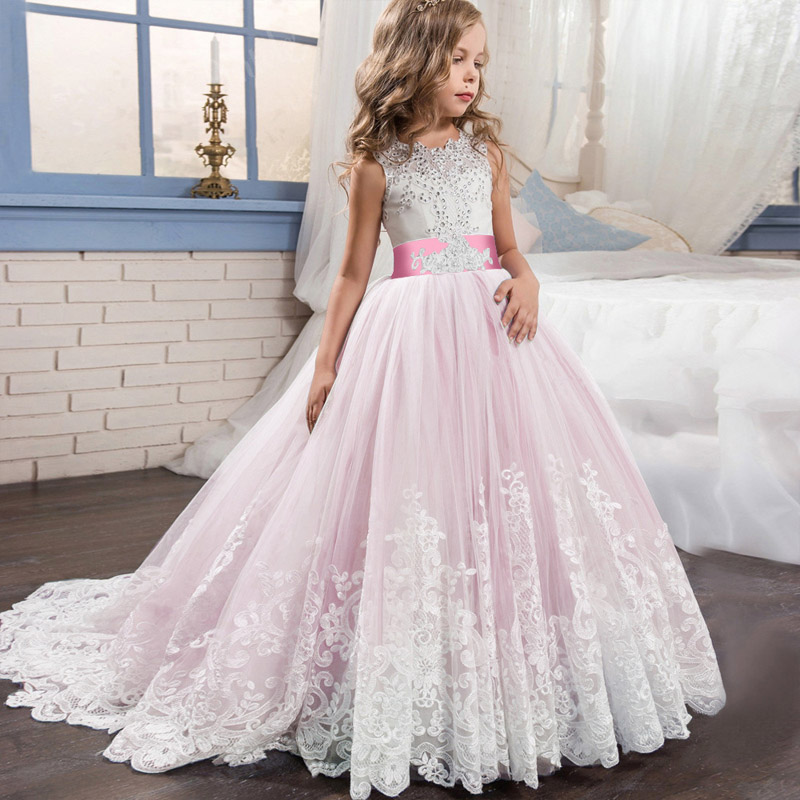 Hot high quality   flower     girl     dress   children pageant party ball gown   girls     dress   first communion princess costume ladies vestido