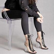 Baibeiqi Femmes Pompes Cheville Bottes PVC Clair Bloc À Talons Hauts Transparent Gladiateur Sandales Haute Top Bootie Plexiglas Peep Toe Chaussures