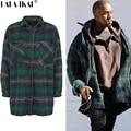 Fe de Franela a cuadros Trinchera Hombres Streetwear Kanye West Connexi Marca Abrigos de Los Hombres de Hip Hop Camisetas de Gran Tamaño Abrigos SMH0050-5